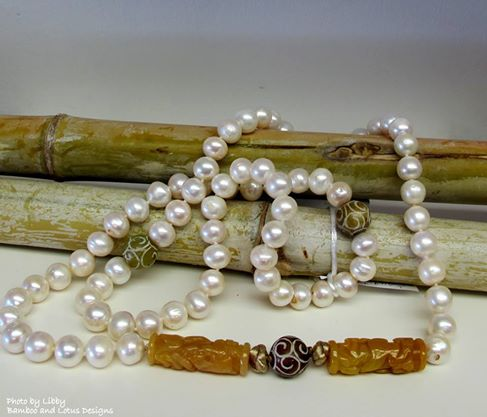 Freshwater Pearls and carved Jade necklace...