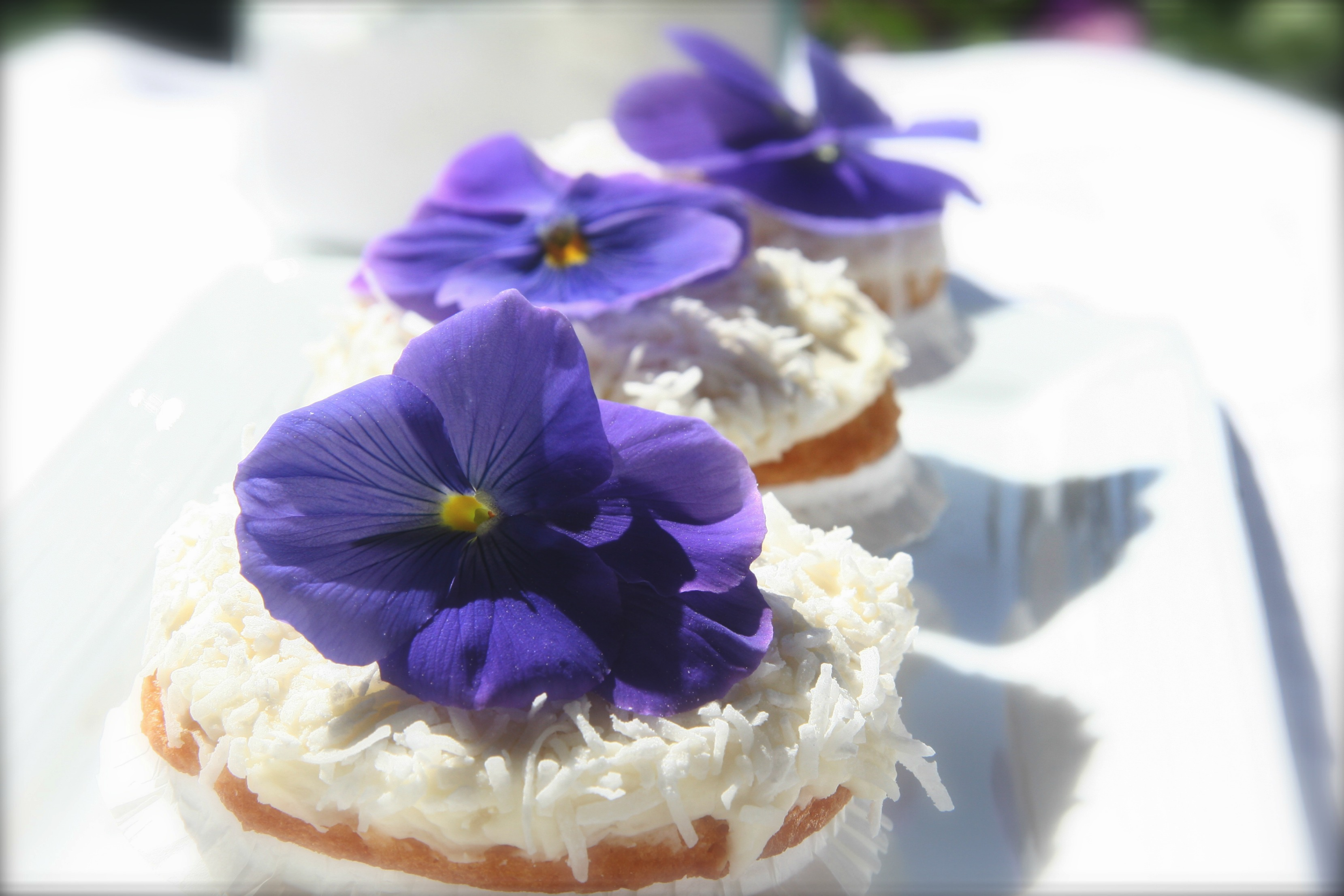 coconut cupcakes w edible flowers